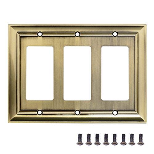 AmazonBasics Triple Gang Wall Plate, Antique Brass, 1-Pack