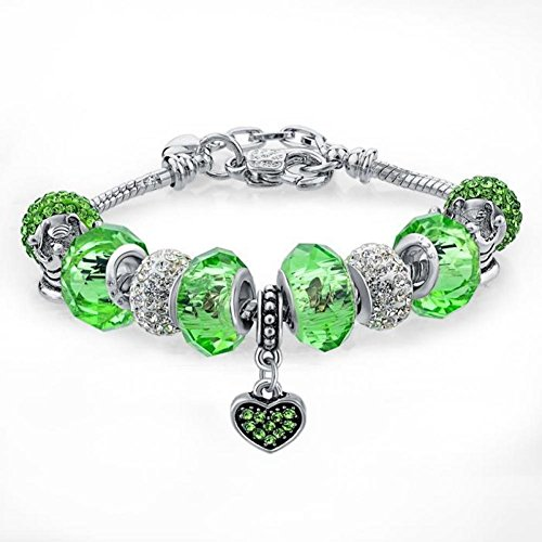 ShiningDeals Fashion Bracelet Silver Plated Bracelet Fit Female Snake Chain Shine Clear Green Beads Lovely Heart Pentent