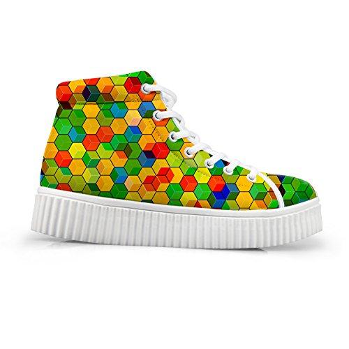 Abbracci Idea Moda Floreale Donne Piattaforma Sneakers Alta Top Scarpe Geometria
