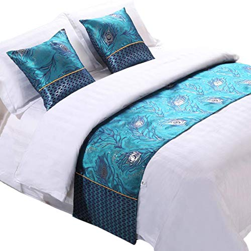 Y-Step Blue Flower Hand Embroidery Bed Runner Bedding Protection Decoration Double Layer Bed Scarf for Bedroom Hotel Guesthouse 3 Size