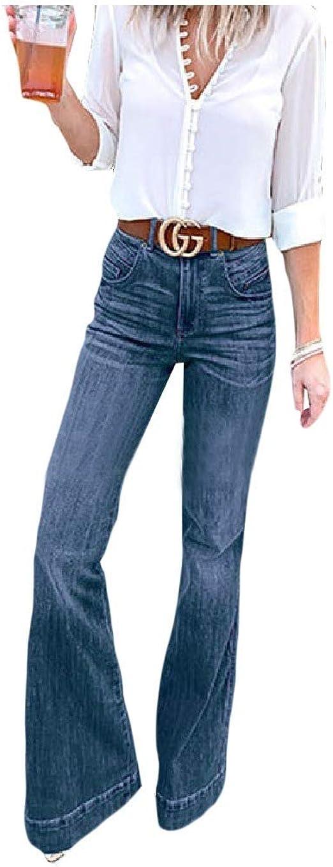 VITryst Womens Fashion Loose Bell Bottom Pants High Waisted Denim Jeans
