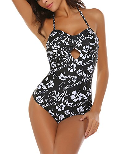 - 51Nv1hjT7qL - MAXMODA Women Sexy Halter One Piece Swimsuit Floral Monokini Bathing Suit S-XXL
