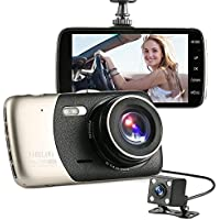 Vahulawa 4 Inch Dash Cam, 1080P HD Video Front and Rear Dual Lens Car Recorder G-Sensor 400 Million Motion Detection WDR Night Vision