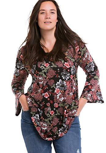Ellos Women's Plus Size Bell Sleeve A-Line Knit Tunic - Black Floral Print, 26/28