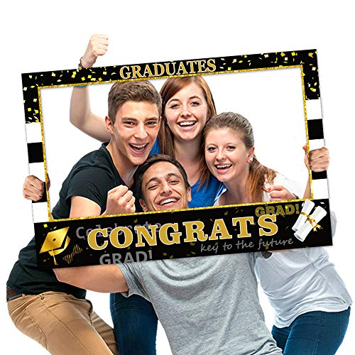 Graduation Photo Props Frame Black and Gold Large Size High school College Graduation Selfie Favors Decorations For 2019]()