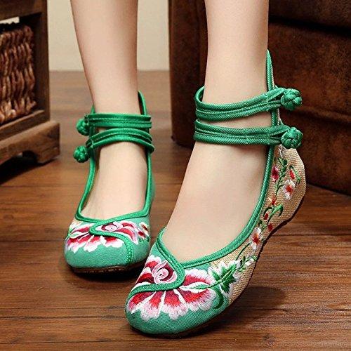 Zapatos Mujer Zapatos Mujer color Zapatos NGRDX Planos green amp;G Bordado Hit Chino Oxford qaBx1t6w1