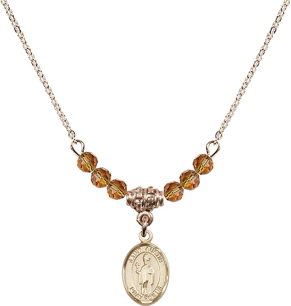 18-Inch Hamilton Gold Plated Necklace with 4mm Topaz Birthstone Beads and Gold Filled Saint Austin Charm.