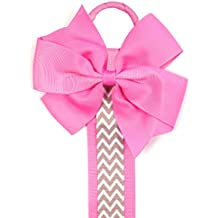 Wrapables Hair Clip and Hair Bow Holder, Hot Pink Chevron