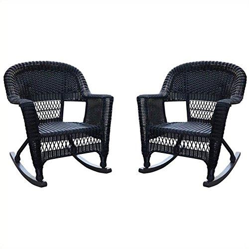 (Jeco W00207R-D_2 Set of 2 Wicker Rocker Chairs Black)