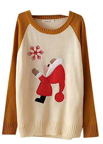 Cute Cartoon Christmas Santa Print Knit Pullover Sweater Black