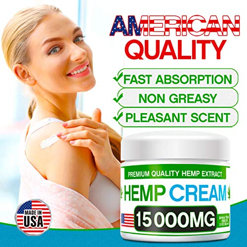 51Nv2hTO9HL - Hemp Pain Relief Cream - 15 000 MG - Natural Hemp Extract Relieves Inflammation, Knee, Muscle, Joint & Back Pain - Contains Arnica, MSM & EMU Oil - Non-GMO - Made in USA