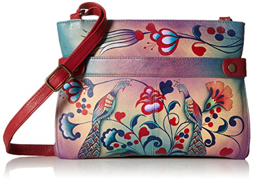Painted Hand Wallet Leather Flower (Anna by Anuschka Hand Painted Leather Women's Medium Crossbody, Turkish Pottery)