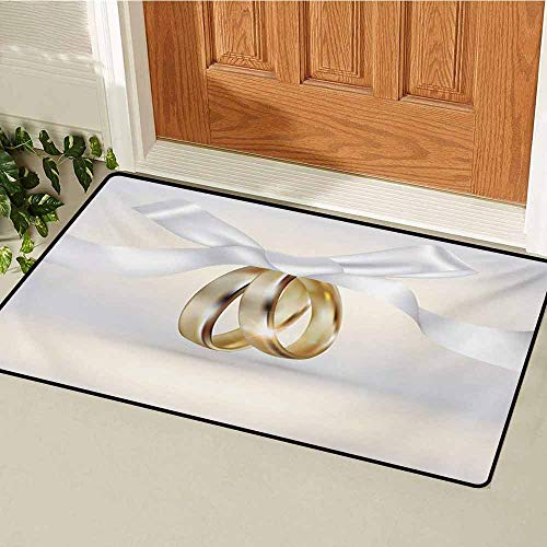 GUUVOR Wedding Welcome Door mat Pair of Wedding Rings with Ribbon Marriage Icon Realistic Celebration Photo Door mat is odorless and Durable W19.7 x L31.5 Inch White and Yellow (Wedding Skyrim Ring)
