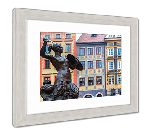 Ashley Framed Prints Mermaid in Warsaw, Wall Art Home Decoration, Color, 34x40 (Frame Size), Silver Frame, AG5924746