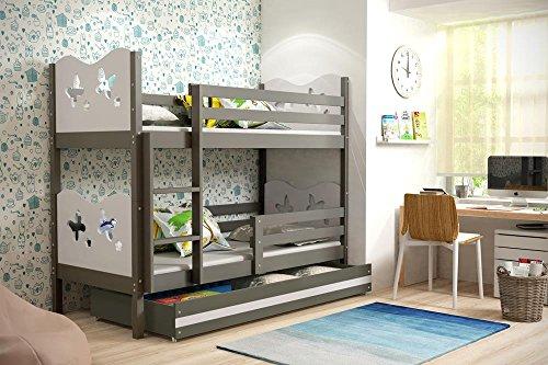 Etagenbett MAX 190x80cm Farbe graphit inkl. Lattenrost und Matratzen