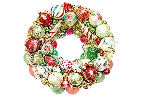 Custom Vintage Holiday Glass Ornament Christmas Wreath; Shiny Brite; Radko  Ornaments; Door Wreath