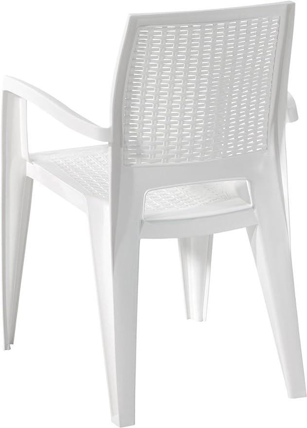 Silla plástico imitación medula Respaldo Alto Color Blanco ...