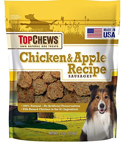 Top Chews Chicken Apple Sausages 40 Ounces