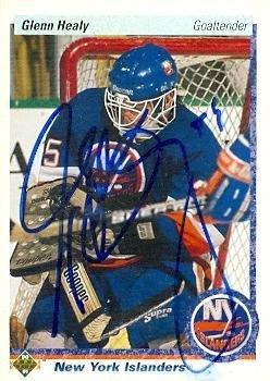 (Glenn Healy autographed Hockey Card (New York Islanders) 1990 Upper Deck #18 - Autographed Hockey Cards)