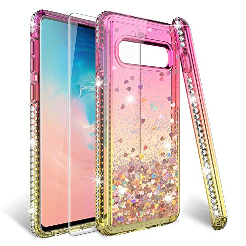 HATOSHI Galaxy S10 Glitter Case with Screen Protector for Girls Women, Floating Quicksand Liquid Sparkle Bling Diamond Clear Cute Protective Phone Case for Samsung Galaxy S10- Pink/Gold ()