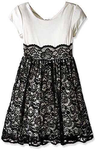 Bonnie Jean Girls' Big Cap Sleeve Dress with Lace Overlay Skirt, Ivory/Black, 12 ()