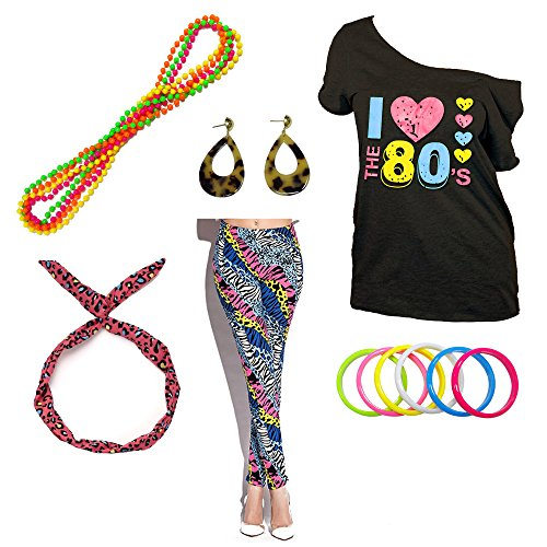 I Love The 80s Disco T-Shirt 1980s Party Theme Costume Outfit Accessories (Small, Leopard)