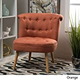 Donna Mid Century Fusion Orange Button Tufted Fabric Chair For Sale