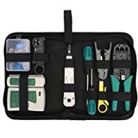 Andoer 14pcs/set Network Cable Tester Kit Professional Network Tool Kit Network Repair Tool Kit Net Computer Maintenance Tools with Storage Pouch