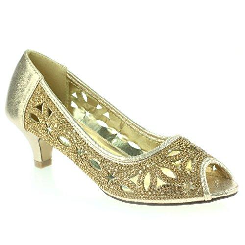 Mujer Señoras Diamante tachonado Recortar Peep Toe Tacón Del Gatito Noche Fiesta Boda Prom Sandalias Zapatos Talla Oro