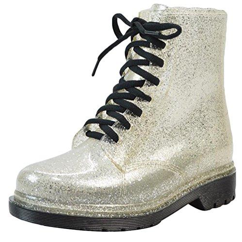 de Señoras Jardín de Tacones Mujeres Cortas las Lluvia Plata de LvRao Botas Altos Zapatos Boots Impermeable Nieve ZFUwqAPw