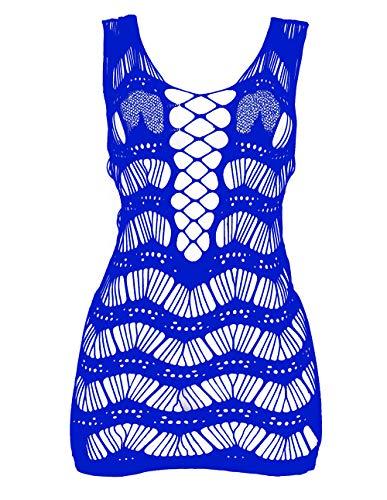 LemonGirl Women Net Bodystocking Sleepwear for Ladies One Free Size Bodysuits Lingerie Stocking Blue