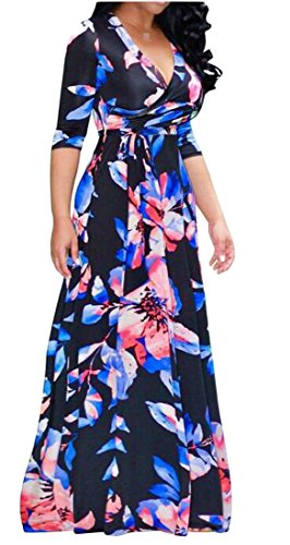 Sexy Women's Hem Neck Sleeved Cromoncent Black Belted Big Printed Maxi V Deep Dress Semi Party 1qxdd5w