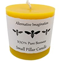 Alternative Imagination 100% Pure Beeswax Pillar Candle (Small, 3x3 Inch), 40 Hour, Hand-Poured, Made in USA