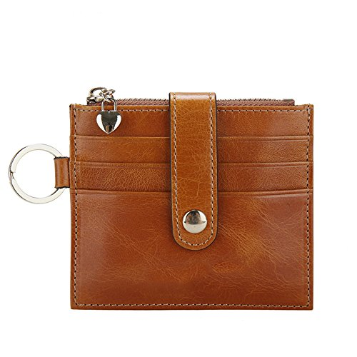 Brown Leather Womens Bank (Artmi Womens Card Holder Leather Card Case with ID Window Cute Card Sleeves,)