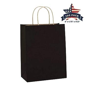 Amazoncom Black Paper Bags With Handles 100 Pcs 8x475x105