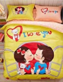 ZQ Fashion personality style Sweet Love, Full Cotton 3D Printing Cartoon Bedding Set 4PC, Queen King Size