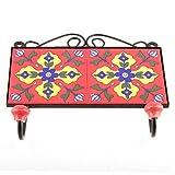 IndianShelf Handmade 1 Piece Ceramic Red Navy Blue Flower Tiles Artistic Rust Free Wall Hooks/Cloth Coats Hangers/Keys Holders