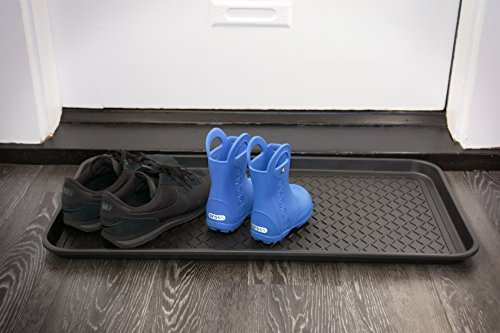 "Ottomanson Multi-Purpose Tray 30"" X 15"" X 1.2"" Multi-Purpose Boot & Shoe Tray , Waterproof for All Weather Indoor or Outdoor Use, Pet Bowl Mat"