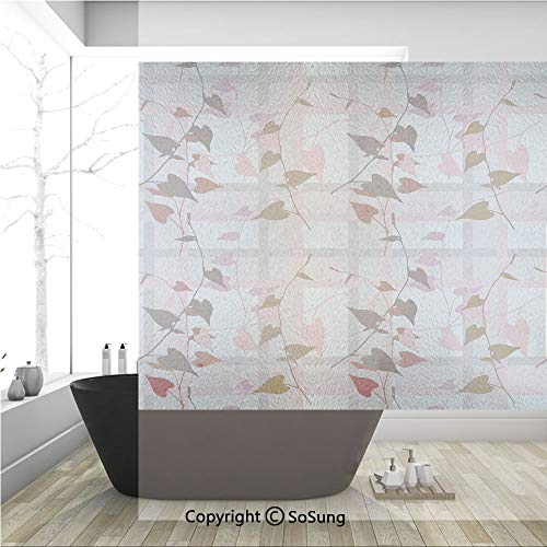(3D Decorative Privacy Window Films,Heart Shaped Swirling Leaves over Striped Square Lines Urban Life Graphic Image,No-Glue Self Static Cling Glass film for Home Bedroom Bathroom Kitchen Office 36x36 I)