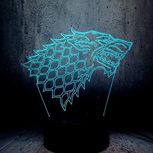 Starke Familie Totem Wolf 3D Led Lampe Game Of Thrones Superfans Bestes Geschenk N/ützliche Souvenir Nachtlicht Ausstellung Lava Display