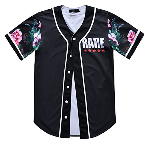 PIZOFF Short Sleeve Arc Bottom 3D ColorFful Flowers Print Baseball Jersey Shirt Y1724-88-L