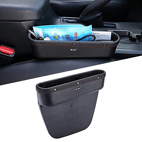 Mr.Ho Console Side Pocket with Genuine Leather Edge, Car Seat Catcher Gap Filler Side and Caddy Pocket Organizer, Extra Storage Space in Car - in Between Car Seat Catcher (Passenger's Seat)