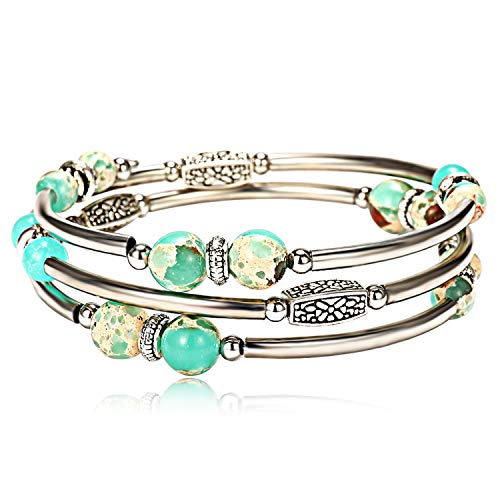 Lateefah Imperial Jasper Beads Bangle Wrap Bracelet Fashion Bohemian Jewelry Multilayer Charm Bracelets for Women Girls from Lateefah