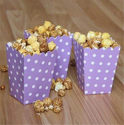 ASMGroup Popcorn Boxes 6pcs/bag Colorful Mini Dot Popcorn Box Party Supplies Gift Box Party Favor Candy For Kid Baby Shower Wedding Party Decoration Purple