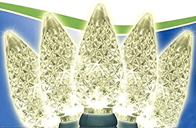 Set of 100 Faceted Warm White LED C6 Christmas Lights - Green Wire