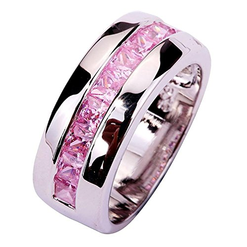 [Psiroy Women's 925 Sterling Silver 1.5cttw Pink Topaz Half Eternity Filled Ring] (Solid Sterling Silver Square Braid)