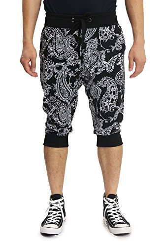 Paisley Mens Shorts (Victorious Men's Paisley French Terry Jogger Shorts JC361 - BLACK - X-Large F4F)