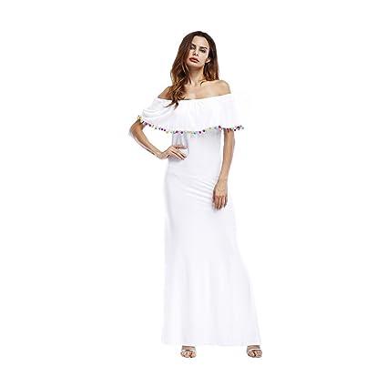 WANG Vestido de Fiesta de Verano de Color Puro de Pecho Largo Envuelto Atractivo de Verano