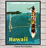 Vintage Hawaii Travel Poster Wall Art Print - 8x10 Photo - Perfect Tropical Home Decor for Lake or Beach House, Living Room, Bedroom, Bathroom, Den - A Great Easy Gift for People Who Travel - Unframed
