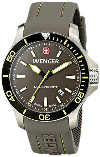Wenger Men's 01.0641.110 Sea Force 3H Stainless Steel Watch with Silicone Band